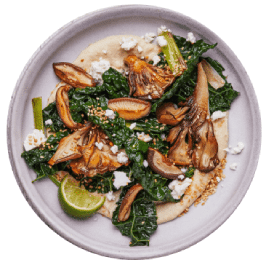 Crispy Mushrooms with White Beans and Kale